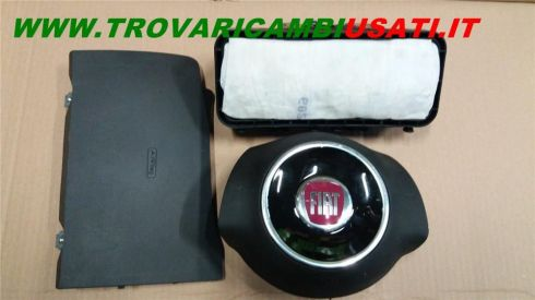 DISPOSITIVO AIR-BAG lato guida (con coperchio nero) FIAT 500 (312-3P/83) KIT AIR VOLANTE NERO 1 SP VIOLA + PASS 2 SP (NO AIR GAMBE) 735452889 999-U40413 (Usato)